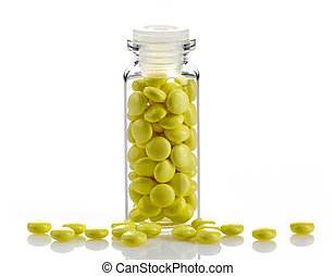 bottle of yellow valerian extract pills - bottle of yellow...