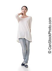 Asian young woman with casual dress, full length portrait...