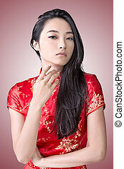 Chinese woman dress traditional cheongsam - Sexy Chinese...