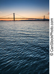 Sunset over river and bridges in Queensferry