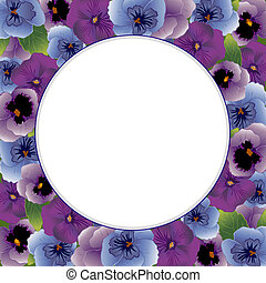 Pansy Flower Picture Frame, Round - Pansy flower round...