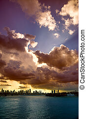 Clouds in the sky - Clouds over a city at dusk, MacArthur...