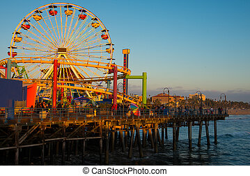 Santa Monica Pier - Ferris wheel on a pier, Santa Monica...