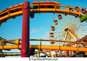 Amusement park rides on a pier, Santa Monica Pier, Santa...