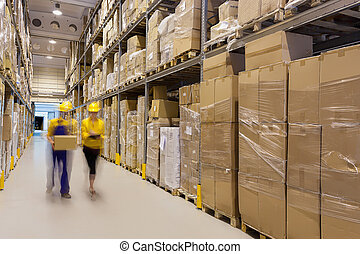 Warehouse control - Two workers in warehouse controlling...