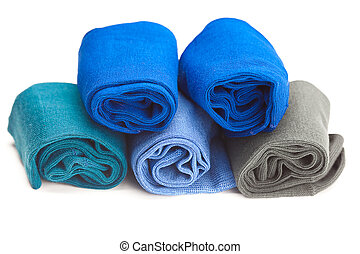multi colored socks made of cotton isolated on white