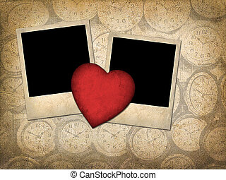 Two old-style photo  with red paper heart