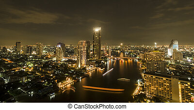 Panorama view of Bangkok city scape at nighttime