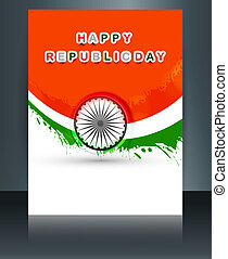 Beautiful republic day brochure template for stylish indian...