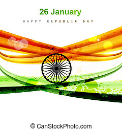Happy republic day colorful indian flag wave design vector