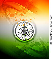Republic day stylish indian flag tricolor wave colorful...