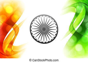 vector indian flag beautiful wave tricolor background illustration