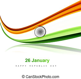 republic day stylish indian flag tricolor wave reflection vector design