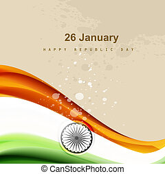 Stylish indian flag republic day creative wave tricolor vector