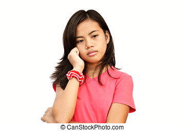 Thoughtful Teen - Asian teenager girl with deep sad thoughts...