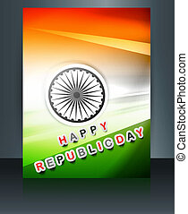 Republic day brochure indian flag template vector design