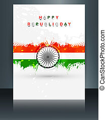 Republic day brochure template for tricolor indian flag reflection vector