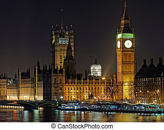 Westminster palace and Big Ben at night, London, december...