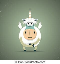 Magic little mythical unicorn with a spiral horn - Cartoon...