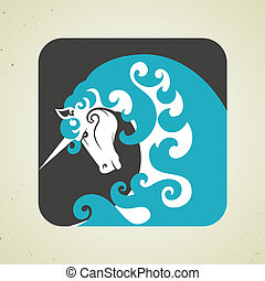 Icon of magic mythical unicorn with a horn - Icon of a...