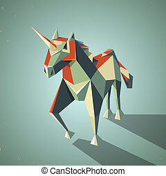 Three dimensional magic origami unicorn from folded paper -...