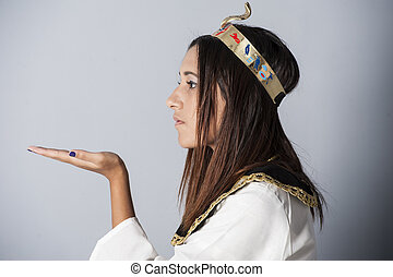 Young girl posing in egyptian clothing - Beautiful young...