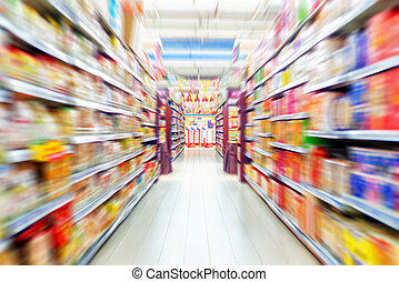 Empty supermarket aisle, Motion Blur