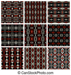 Set of nine tribal patterns - Set of nine seamless ethnic...