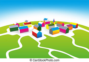 settlement - illustration of a small village with colored...