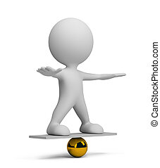 3d person in equilibrium on a ball 3d image White background...
