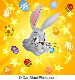 White Easter bunny background - Easter bunny and Easter eggs...