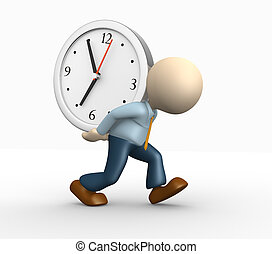 Clock - 3d people - man, person and a big clock. Businessman...