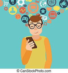 Smartphone addiction concept - Vector man wearing glasses in...