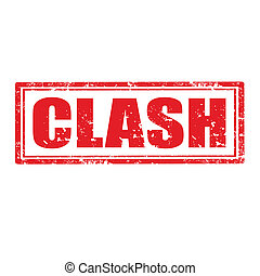 Clash-stamp - Grunge rubber stamp with word Clash...