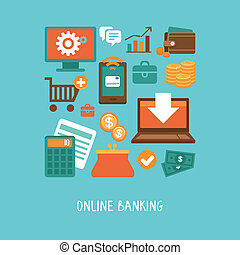 Online banking and business - Vector concept in flat style -...