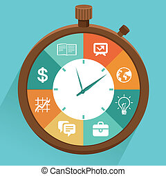 Vector flat concept - time management. Modern illustration...