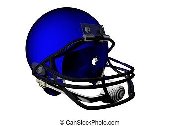 Football helmet - Blue football helmet isolated over white,...