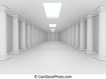 interior with columns - white interior with antique columns