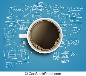 business strategy and coffee - coffee cup and business...