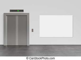 elevator and poster - elevator and blank poster, 3d render