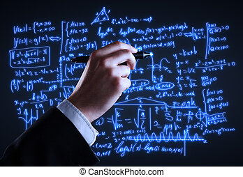 hand drawing formulas on a board