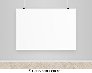 blank poster in empty room