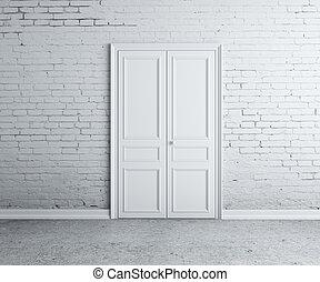 door in wall - door in the brick white  wall