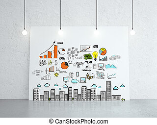 cardboard with business concept - white cardboard with...