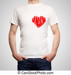 guy in T-shirt with heard on a white background