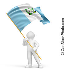 Man and Guatemala flag - Man and Guatemala flag. Image with...