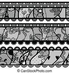 Set of lacy vintage trims.