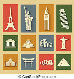 World landmarks, flat icons set - Different world landmarks...