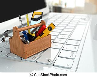 Apoyo, caja de herramientas, herramientas, computador...