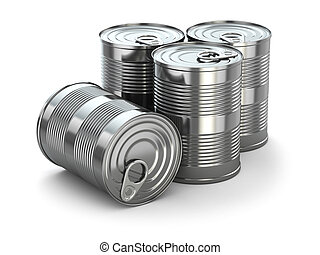 Food tin cans on white isolated background 3d